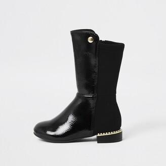 River Island Mini girls Black pearl heel knee high boot