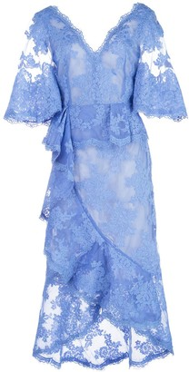 Marchesa lace V-neck midi dress
