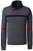Classic Men's Merino Blend Colorblock Quarter Zip Sweater Navy Plaid