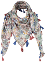 Fat Face Girls' Leaf Print Square Scarf, Navy