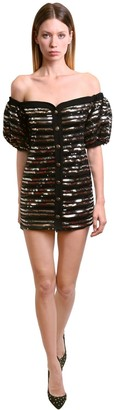 Philosophy di Lorenzo Serafini Off-The-Shoulder Sequined Mini Dress