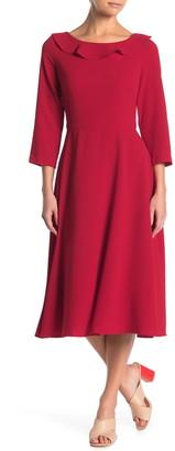 Gabby Skye 3/4 Sleeve Crepe Midi Dress