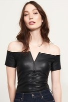 Dynamite Faux Leather Off-The-Shoulder Top