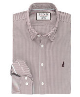 Thomas Pink Charlie Stripe Slim Fit Button Cuff Shirt Casual