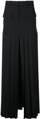 Vera Wang High Slit Pleated Skirt