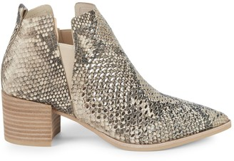 Dolce Vita Bianca Snakeskin-Embossed Leather Booties