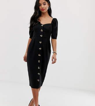 Asos DESIGN Petite linen button through midi dress with sweetheart neckline-Black