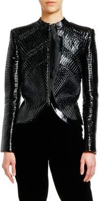 Giorgio Armani Patent Leather Plisse Zip-Front Jacket