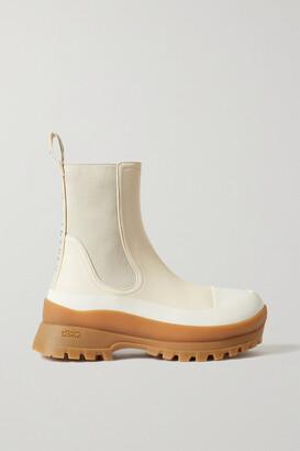 Stella McCartney Trace Logo-detailed Vegetarian Leather Chelsea Boots - Cream
