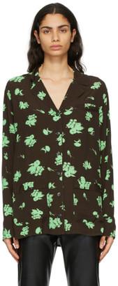 Ganni Brown and Green Crepe Printed Shirt