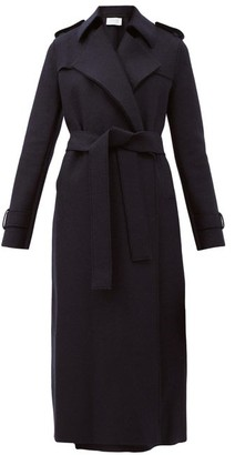 Harris Wharf London Double-breasted Wool Trench Coat - Navy
