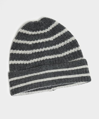 Drakes Lambswool Stripe Beanie in Grey