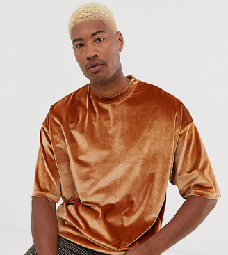 Asos Design DESIGN Tall oversized super longline t-shirt with half sleeve in brown velour