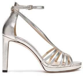 Jimmy Choo Federica 100 Metallic Leather Platform Sandals