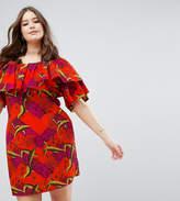 Asos Off Shoulder Dress In Orange Tropical Print