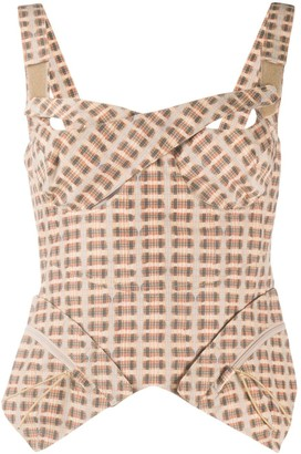 Charlotte Knowles Check Print Corset Top