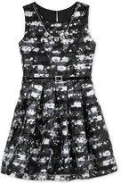 Beautees Striped Floral-Print Skater Dress & Necklace Set, Big Girls (7-16)