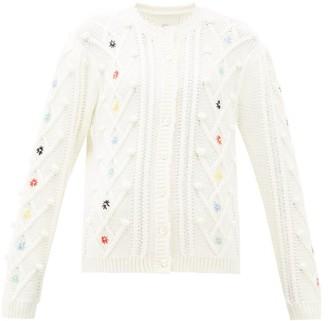 Shrimps Mc Coy Floral-embroidered Wool-blend Cardigan - Cream