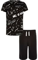 River Island Boys black 'Wake Up Awesome' print pyjama set