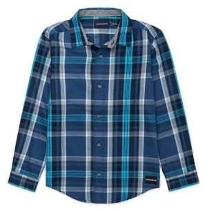 Calvin Klein Jeans Boy's Plaid-Print Cotton Shirt