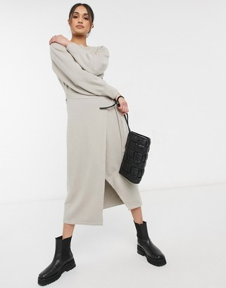 And other stories & tie waist puff sleeve knitted midi dress in beige