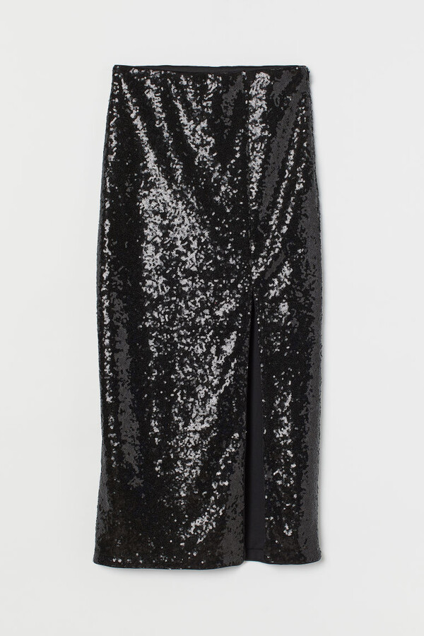 Thumbnail for your product : H&M Slit-front sequined skirt