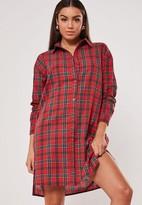 Missguided Tall Red Plaid Shirt Dress