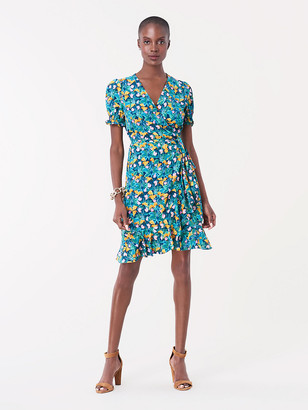 Diane von Furstenberg Emilia Ruffled Crepe de Chine Mini Wrap Dress