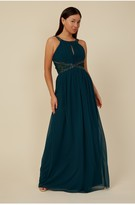 Thumbnail for your product : Little Mistress Bridesmaid Lauren Emerald Green Lace Insert Maxi Dress With Keyhole
