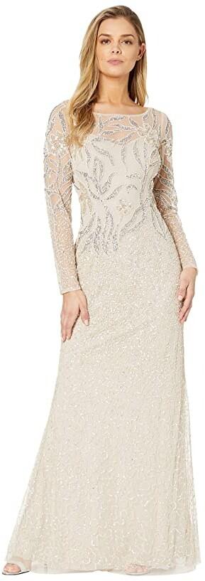 Adrianna Papell Long Sleeve Beaded Evening Gown (Biscotti) Women's Dress