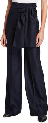 Victoria Victoria Beckham Tie-Waist Full-Leg Flannel Pants
