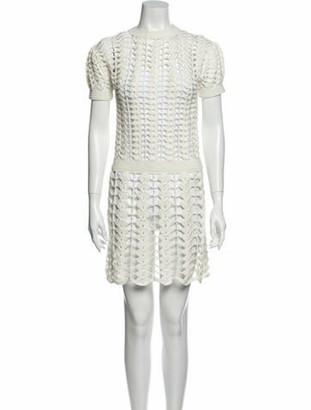 Paco Rabanne Crew Neck Mini Dress White