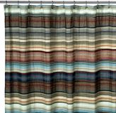 Retro Chic Blue Fabric Shower Curtain