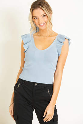 Lucy Paris Ruffle Sleeve Fitted Sweater Blue XS
