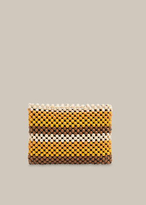 Safah Striped Beaded Clutch