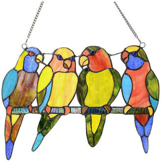 """River Of Goods 10.5"""" Stained Glass Tropical Birds Window Panel, Blue"""