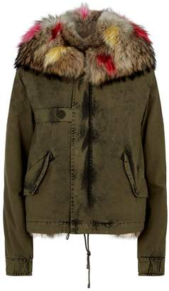 Mr & Mrs Italy Fox Fur-Lined Cropped Parka Coat