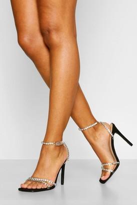 boohoo Embellished Clear Strap Stiletto Heels