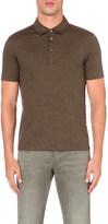 HUGO BOSS Short-sleeved cotton and silk-blend polo shirt