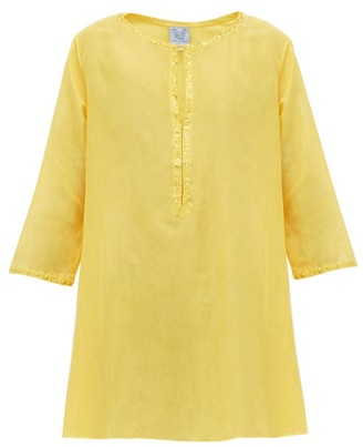 Thierry Colson Samia Floral-embroidered Cotton-blend Kaftan - Yellow