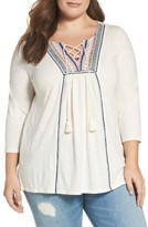 Lucky Brand Plus Size Women's Lace-Up Embroidered Top
