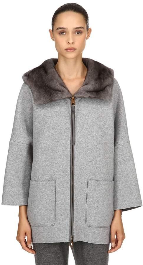 Agnona Hooded Mink Fur & Cashmere Short Coat