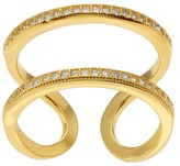 Journee Collection 1/2 CT. T.W. Round-cut CZ Open Double Row Pave Set Ring in Goldplated Sterling Silver - Gold