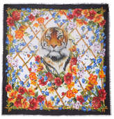Dolce & Gabbana Frayed Printed Modal And Cashmere-blend Scarf - Orange