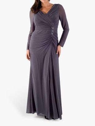 Chesca Mesh Bead Trim Maxi Dress