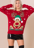 Missy Empire Red Rudolph 3D Eyes Knitted Christmas Jumper
