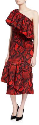 SOLACE London Heppy Snake-Print Midi Dress