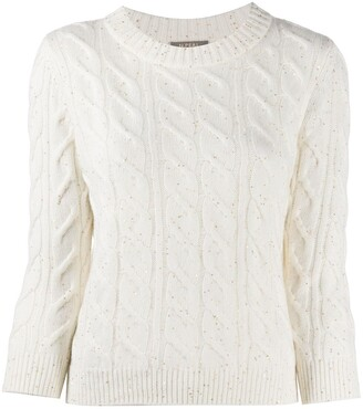 N.Peal Cable Cashmere Sweater With Sequins