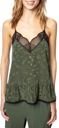 Zadig & Voltaire Celest Jacquard Silk & Lace Peplum Camisole