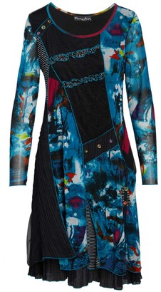 Pretty Angel Women's Casual Dresses TURQUOISE/BLACK(TQ/BK) - Turquoise & Black Patchwork Silk-Blend Scoop Neck Dress - Women